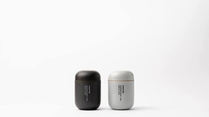 CHAPTER Set of 2 Cups (Clear Grey & Matte Black) with 2 Trial Tea Bags