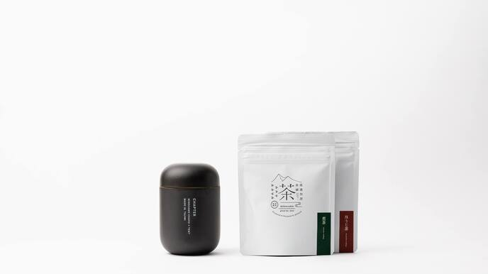 CHAPTER (Matte Black) & Two Packages of 8 Tea Bags (Sencha and Hojicha)