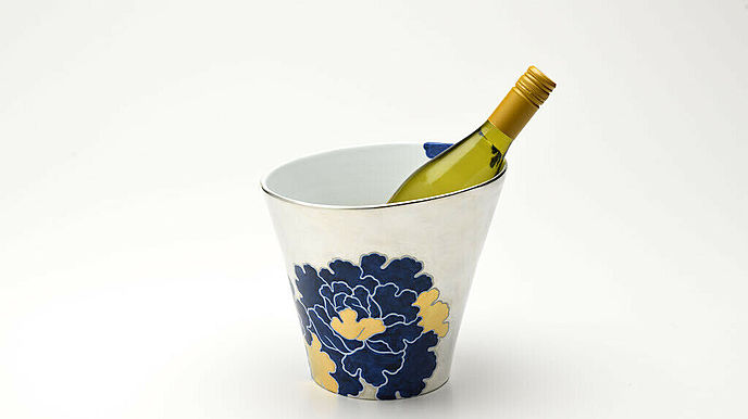 MIKOTO WINE Japanese SAKE cooler ceramic pottery Flower Pattern (Silver)