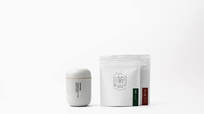 CHAPTER (Clear Grey) & Two Packages of 8 Tea Bags (Sencha and Hojicha)